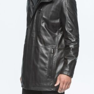 Andrew Marc leather 3/4 coat Black